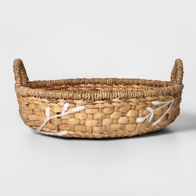 17  x 5  Embroidered Water Hyacinth Basket Natural/White - Threshold™