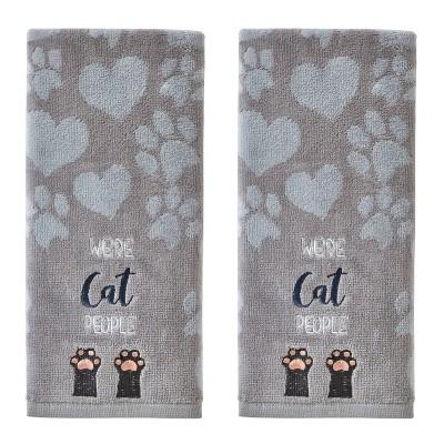 2pk Cat People Hand Towel Set Gray - SKL Home