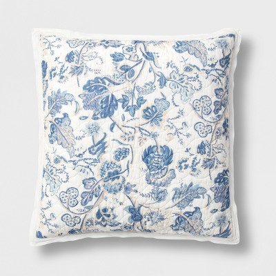 Standard Printed and Washed Voile Sham Blue Floral - Threshold™