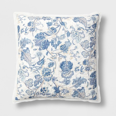Printed and Washed Voile Sham Blue Floral - Threshold™ - image 1 of 5