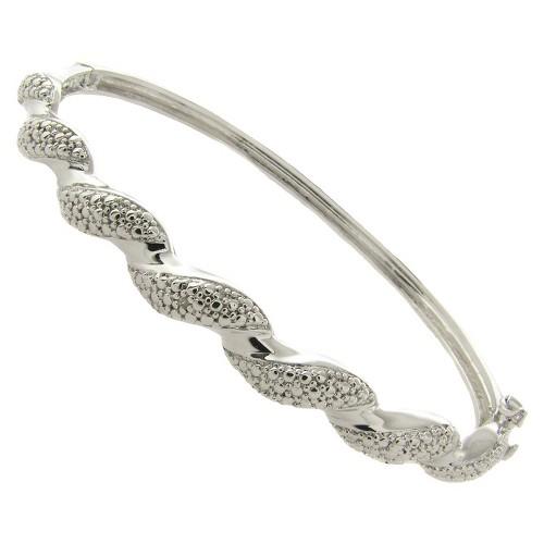 Diamond Accent Twist Bangle, Women's, Size: Small, Silver