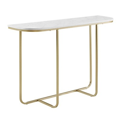 Modern Glam Curved Entryway Table with Faux Marble and Metal White/Gold - Saracina Home