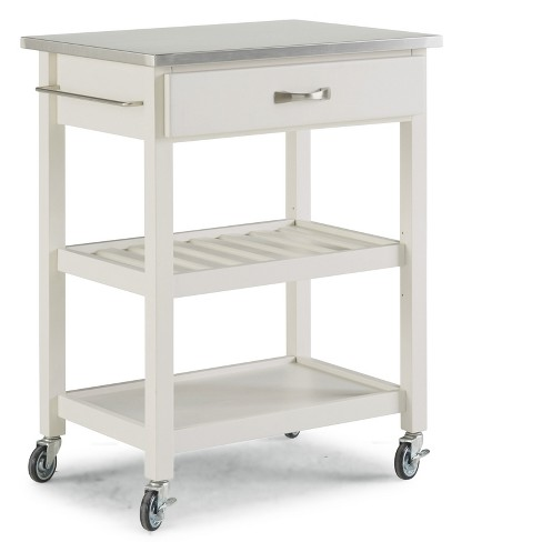 Stainless Steel Top Kitchen Cart White