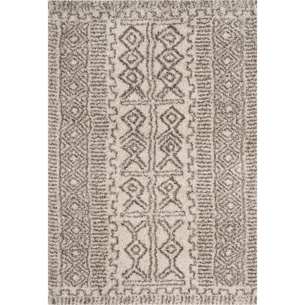 6'X9' Tribal Design Loomed Area Rug Ivory/Gray - Safavieh, White