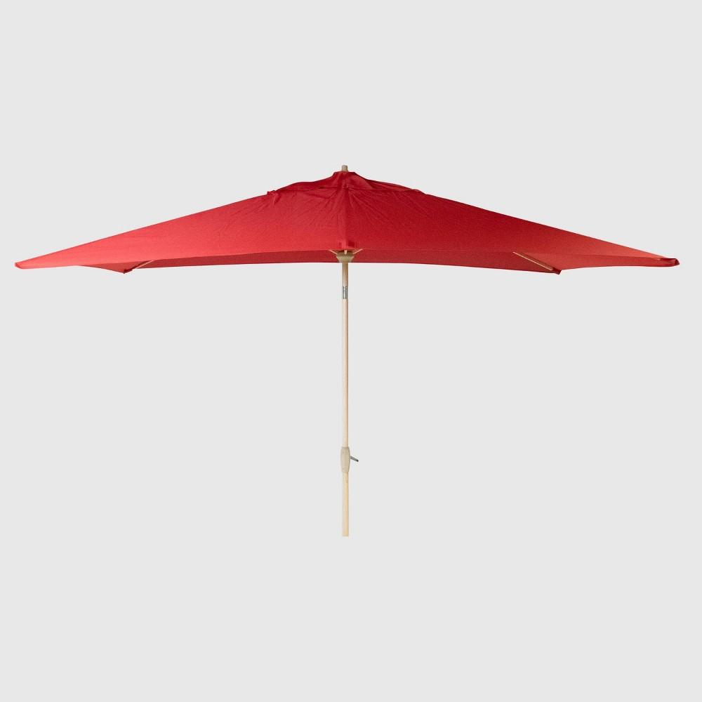 6.5' x 10' Rectangular Patio Umbrella Red - Light Wood Pole - Threshold