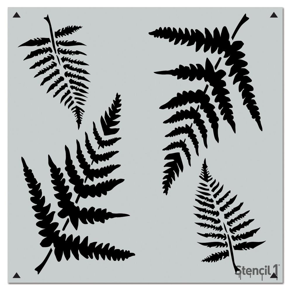 Stencil1 Fern Repeating - Wall Stencil 11 x 11, White