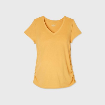 Maternity Short Sleeve V-Neck Side Shirred T-Shirt - Isabel Maternity by Ingrid & Isabel™ Yellow XXL