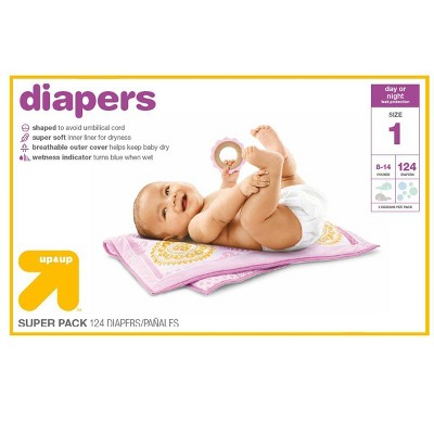 Diapers Super Pack Size 1 - 124ct - Up&Up™