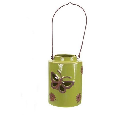 """Melrose 12.5"""" Green Cut-Out Butterfly Tea Light or Votive Candle Holder"""