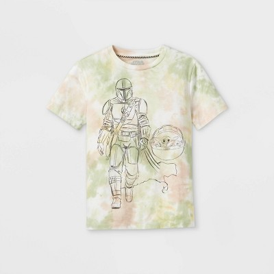 Boys' Star Wars The Mandalorian Tie-Dye Short Sleeve Graphic T-Shirt - Green