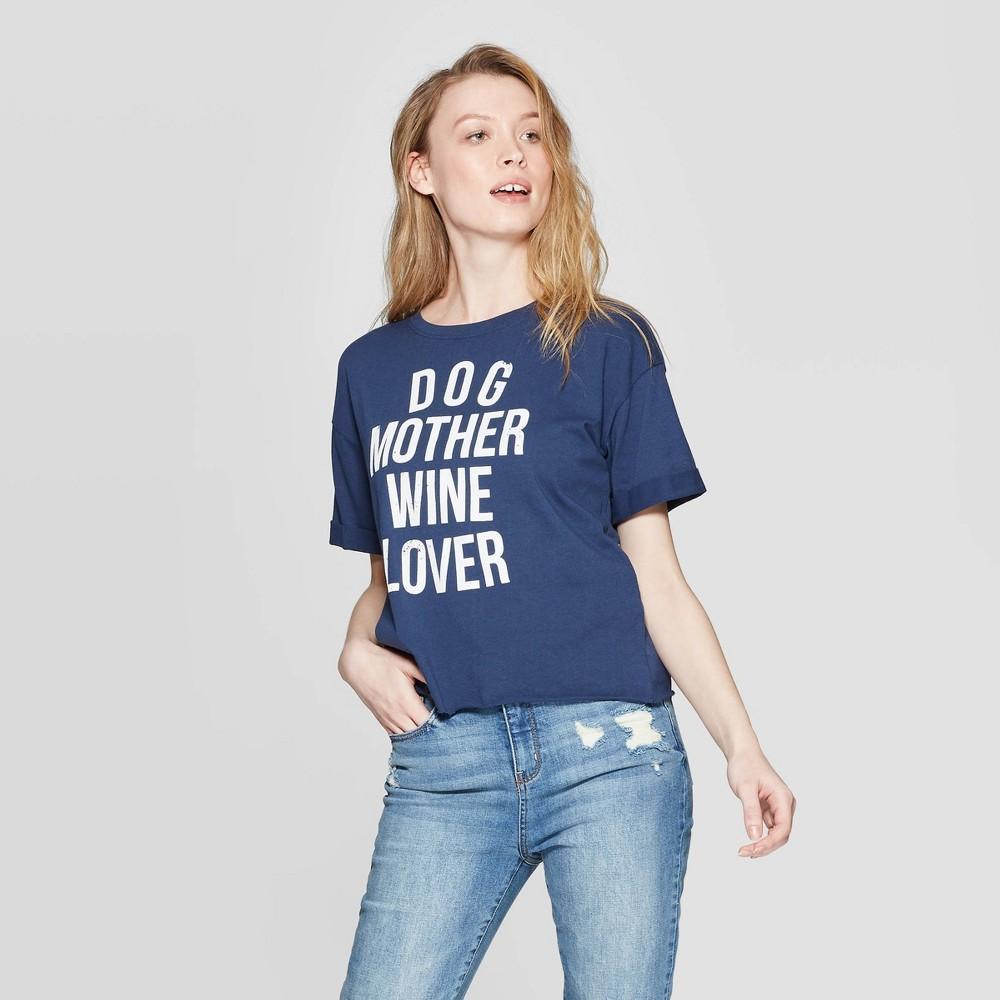 Women's Short Sleeve Round Neck Dog Mother Wine Lover Graphic T-Shirt - Modern Lux - Blue S
