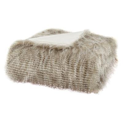 "50""x60"" Adelaide Faux Fur Throw Blanket Natural"