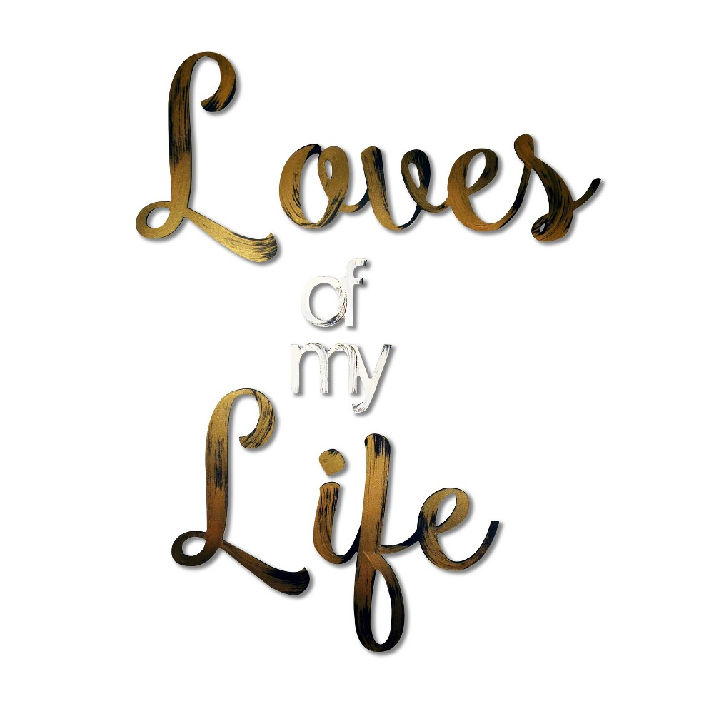 """Image of """"22"""""""" X 17"""""""" 'LOVES OF MY LIFE' Decorative Wall Art Bronze/White - L2W, Gold"""""""
