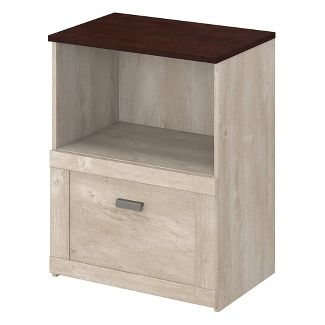 Townhill File Cabinet Washed Gray and Madison Cherry - Bush Furniture