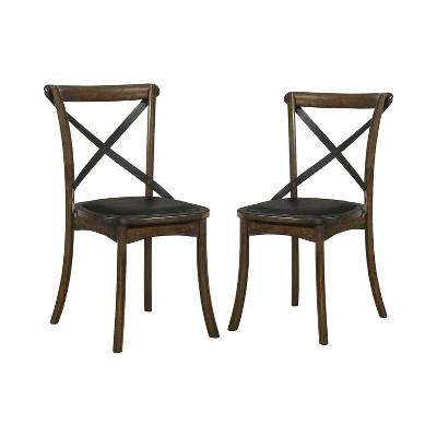 2pc Somers Cross Back Side Chairs Burnished Oak/Espresso - HOMES: Inside + Out