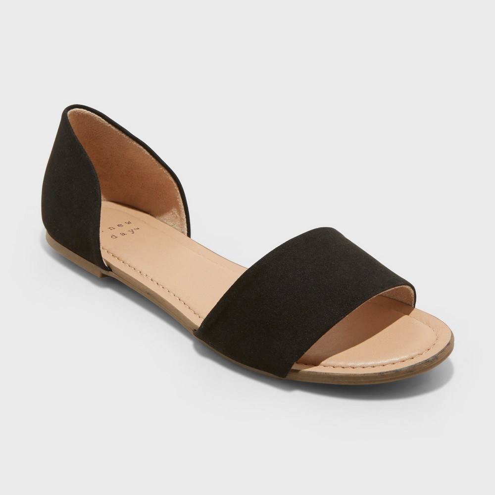 Women's Keira Two Piece Slide Sandals - A New Day Black 8.5