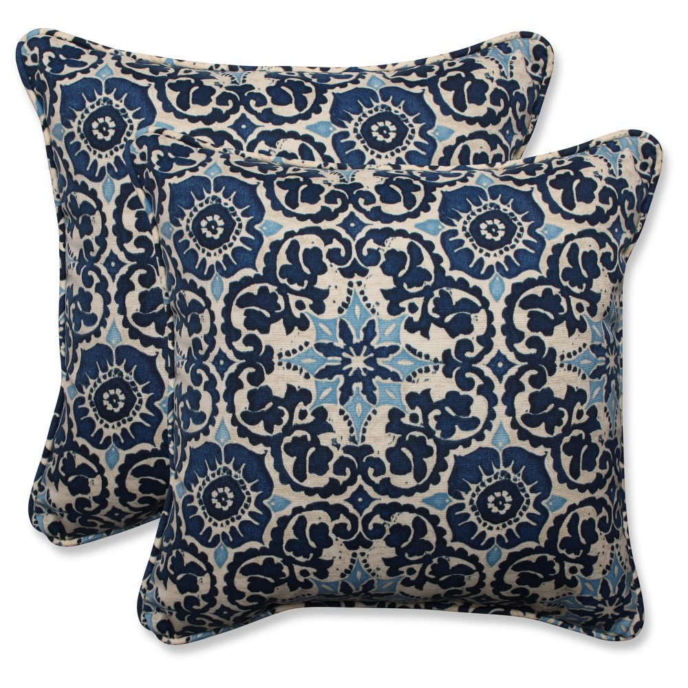Pillow Perfect Outdoor Throw Pillow Set Blue 18 5 X 18 5