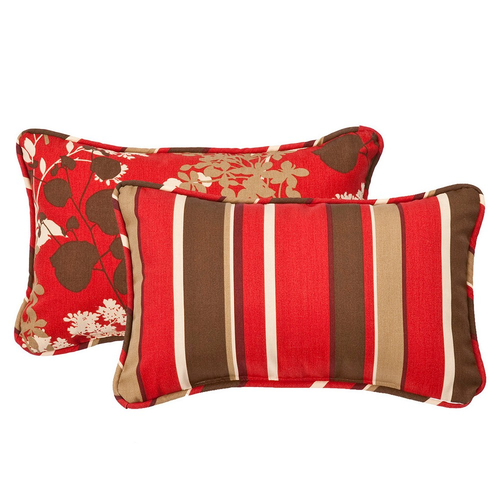 2 Piece Outdoor Reversible Lumbar Pillow Set Brown Red Floral Stripe 18