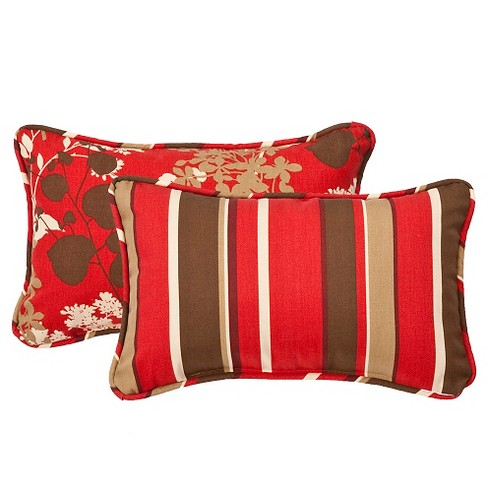 "2-Piece Outdoor Reversible Lumbar Pillow Set - Brown/Red Floral/Stripe 18"" - image 1 of 2"