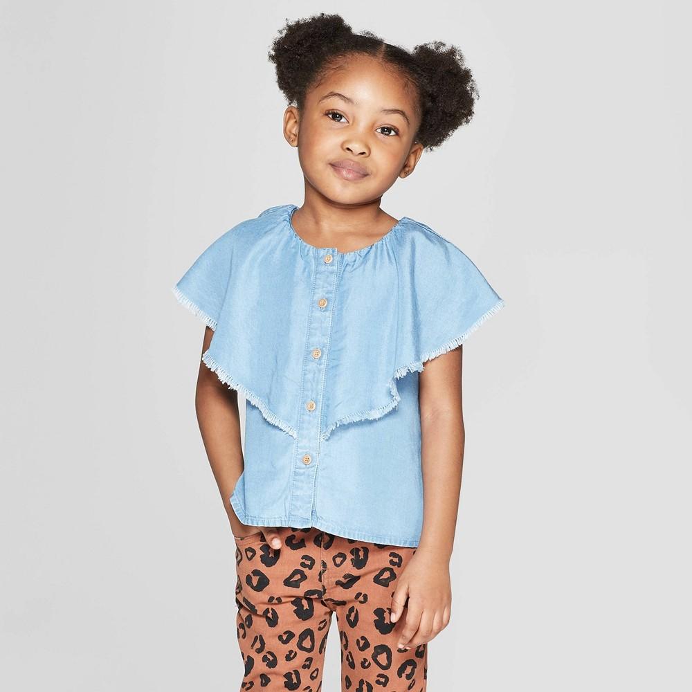 Toddler Girls' Chambray Blouse - art class Blue 4T