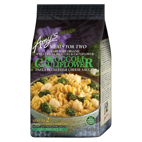 Amy's Meals For Two Organic Broccoli & Cauliflower with Cheddar Cheese Sauce Frozen Pasta Meal - 18oz - image 1 of 1