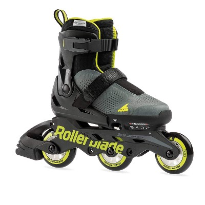 Rollerblade Microblade 3WD Inline Adjustable Lace Free Roller Skates for Kids, Black and Lime