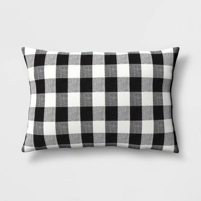 "14""x20"" Holiday Oversized Woven Checked Lumbar Throw Pillow Black/White - Threshold™"