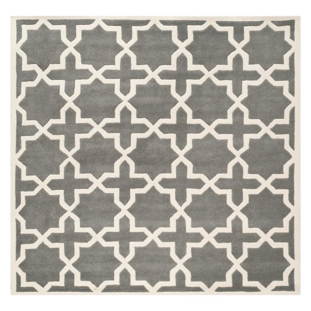 7'X7' Quatrefoil Design Tufted Square Area Rug Dark Gray/Ivory - Safavieh