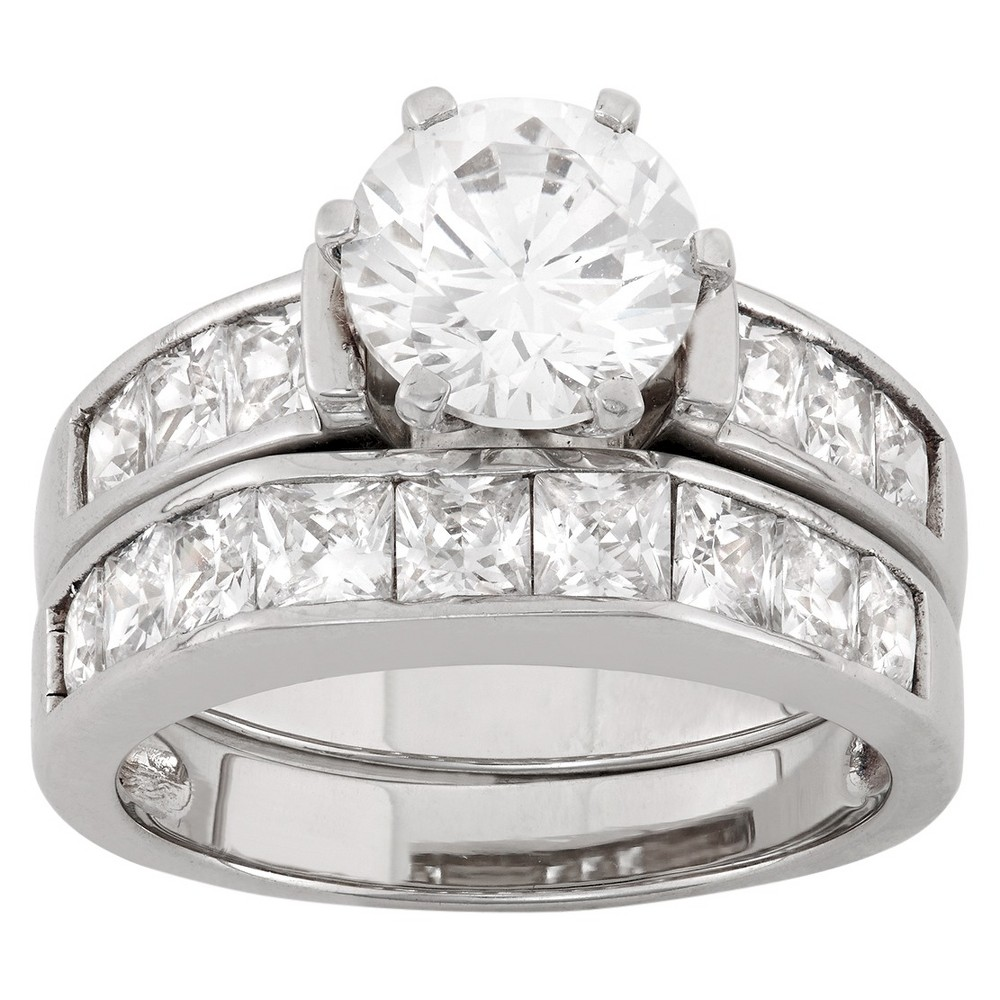 2 CT. T.W. Round-Cut Cubic Zirconia with Channel-Set Side Stones Bridal Set In Sterling Silver - (6), Girl's