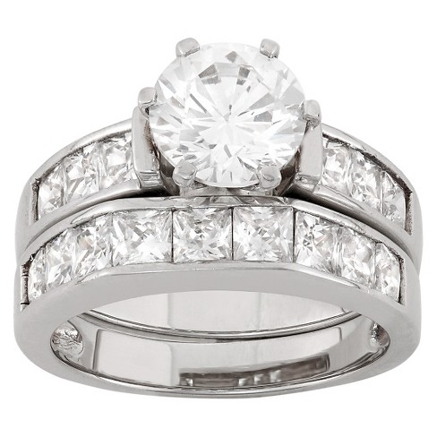 T W Cubic Zirconia Engagement Ring Set In Sterling Silver