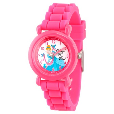 Girls' Disney Princess Cinderella Pink Plastic Time Teacher Watch - Pink