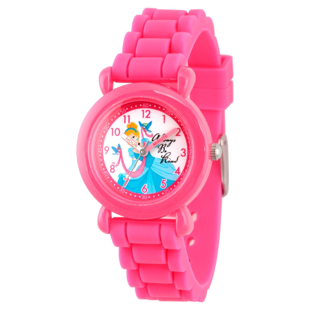 Girls' Disney Princess Cinderella Pink Plastic Time Teacher Watch - Pink