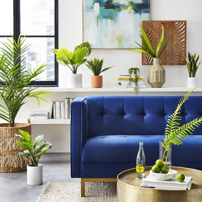 Modern Living Room With Faux Greenery Dcor Ideas Target