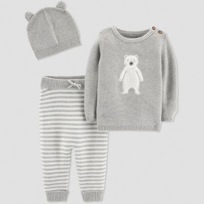 Baby Boys' 3pc Bear Collection Set - Just One You® made by carter's Gray 9M
