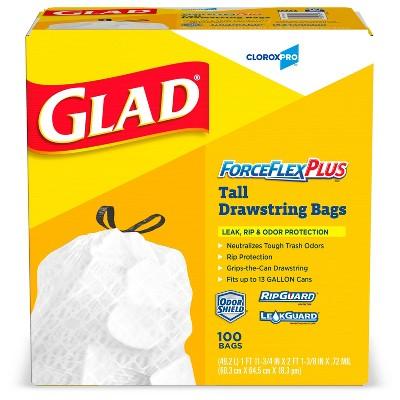Glad ForceFlexPlus Tall Kitchen Drawstring Trash Bags -13 Gallon White Trash Bag - OdorShield -100ct