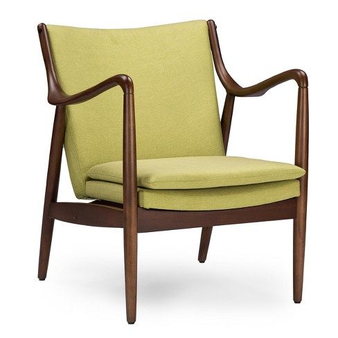 Shakespeare Mid - Century Modern Retro Fabric Upholstered Leisure Accent Chair In Walnut Wood Frame - Baxton Studio - image 1 of 4
