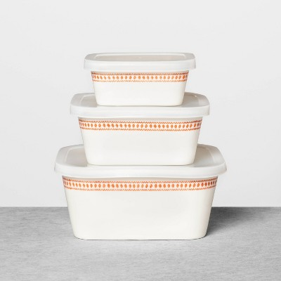 3pk Porcelain Food Storage Container Set - Hearth & Hand™ with Magnolia