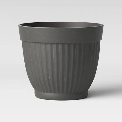 16  Corrugated Resin Planter Gray - Threshold™