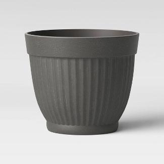 "16"" Corrugated Resin Planter Gray - Threshold™"