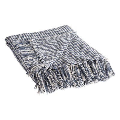 Houndstooth Throw Blanket French Blue - Design Imports