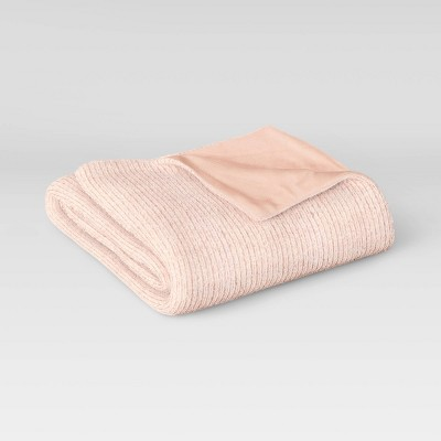 "60""x50"" Ribbed Plush Throw Blanket Blush - Room Essentials™"
