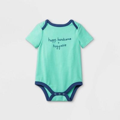 Baby Boys' 'Happy Handsome Huggable' Short Sleeve Bodysuit - Cat & Jack™ Mint 3-6M