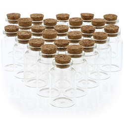 24 Pack Glass Jars Storage Cork Bottles with Lid Holds 20ml for Party Favors, 0.6 x 2.1 Inches, Clear