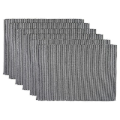 Set of 6 Wine Ribbed Placemat Gray - Design Imports
