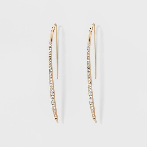 Sugarfix By Baublebar Micro Crystals Delicate Hoop Earrings Gold