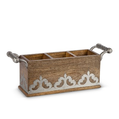 GG Collection Heritage Collection Wood and Inlay Metal Flatware Caddy