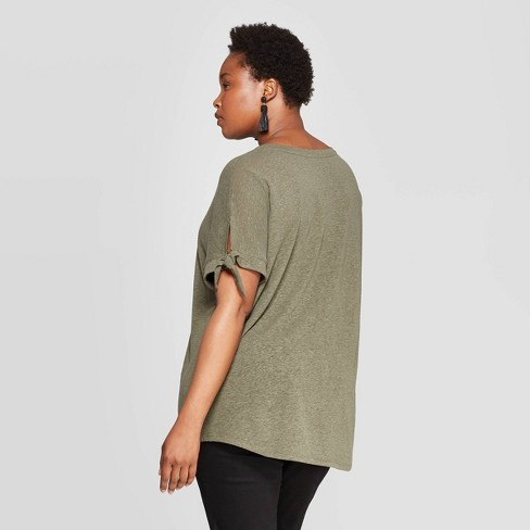 9d2afa42bc2 Women s Plus Size Linen Tie Short Sleeve Crewneck T-Shirt - Ava   Viv™    Target