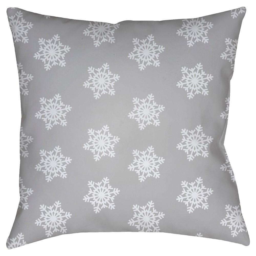 Gray Snowflakes Throw Pillow 20