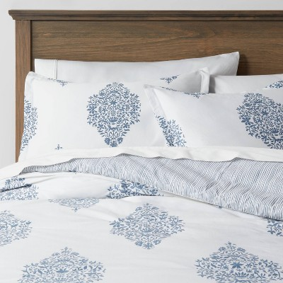 Reversible Medallion Family-Friendly Comforter & Sham Set White/Blue  - Threshold™