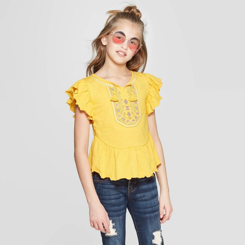 Girls' Short Sleeve Embroidery Top - art class Yellow Xxl